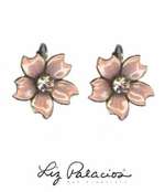 Flores Rose Five Petals Enameled Earrings by Liz Palacios