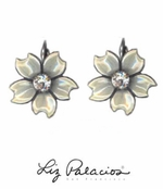 Flores White Five Petals Enameled Earrings by Liz Palacios