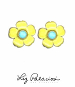 Flores Turquoise Pretty Post Enameled Flower Earrings by Liz Palacios
