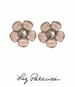 Flores Rose Pretty Post Enameled Flower Earrings by Liz Palacios