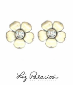 Flores White Pretty Post Enameled Flower Earrings by Liz Palacios