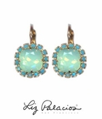 Flores Turquoise Swarovski Crystal Framed Cushion Earrings by Liz Palacios