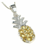 Hawaiian Pineapple Yellow CZ Pendant Neckalce