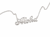 Hawaiian Scroll Aloha Sterling Silver Necklace