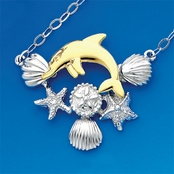 14K Gold and Sterling Silver Dolphin and Shells Necklace
