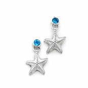 Blue Topaz Starfish Drop Earrings