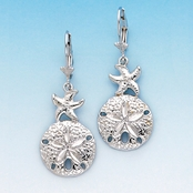 Starfish and Sand Dollar Sterling Silver Leverback Earrings