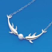 Freshwater Pearl Sterling Silver Kissing Dolphins Necklace