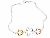 Multi Plumeria Cutout Tri-Color Bracelet