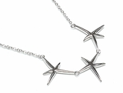 Triple Starfish Polished Sterling Silver Necklace