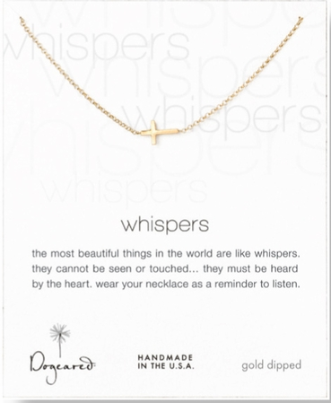 Dogeared Whispers Cross Gold Dipped Necklace