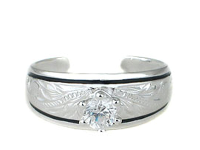 Hawaiian Scroll and Black Enamel CZ Solitaire Toe Ring
