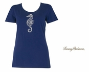 Deep Space Presley Beaded Seahorse Tee Shirt by Tommy Bahma