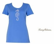 Buzios Presley Beaded Seahorse Tee Shirt by Tommy Bahma