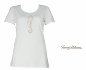 White Presley Beaded Seahorse Tee Shirt by Tommy Bahma
