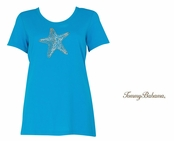 Teal Tone Presley Beaded Starfish Tee Shirt by Tommy Bahma