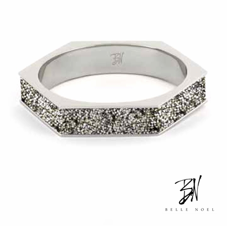 Belle Noel Swarovski Crystal Palladium Plated Hexagon Bangle