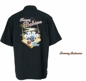 Black Fish and Chips Signature  Silk Camp Shirt by Tommy Bahama