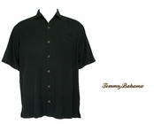 Black Island Twill Stripe Silk Camp Shirt by Tommy Bahama
