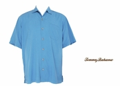 Blue Sea Twill Stripe Silk Camp Shirt by Tommy Bahama