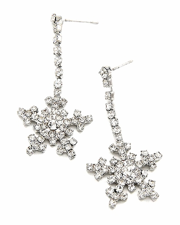 Swarovski Crystal 5-Point Snowflake Line Drop Earrings