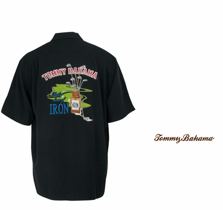 Black Daily Dose of Iron Signature Silk Camp Shirt by Tommy Bahama