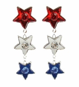 Patriotic Stars Line Drop Earrings