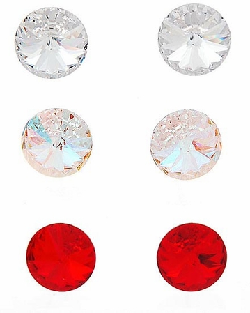 Swarovski Crystal Button Stud Earrings