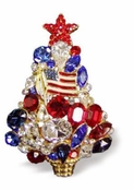 Swarovski Crystal Designer Patriotic Holiday Tree Brooch