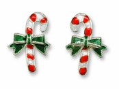 Christmas Candy Cane Sterling Silver Enameled Earrings