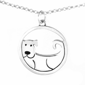 Far Fetched Whimsy Dog Medallion Cut Out Sterling Silver Necklace