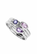 Amethyst Multi Gemstone Triple Band Ring by Boma