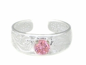 Hawaiian Scroll Pink CZ Solitaire Toe Ring
