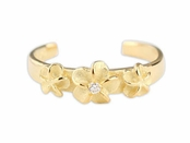 Gold Triple Plumeria Flower CZ Sterling Silver Toe Ring