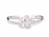 Plumeria Solitaire CZ Sterling Silver Toe Ring