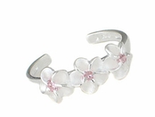 Triple Plumeria Flower Pink CZ Sterling Silver Toe Ring