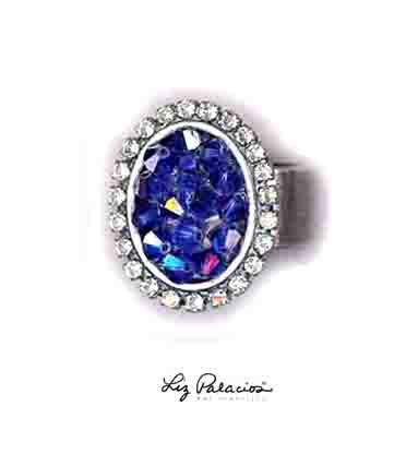 Swarovski Crystal Oval Sapphire Rock Candy Ring by Liz Palacios