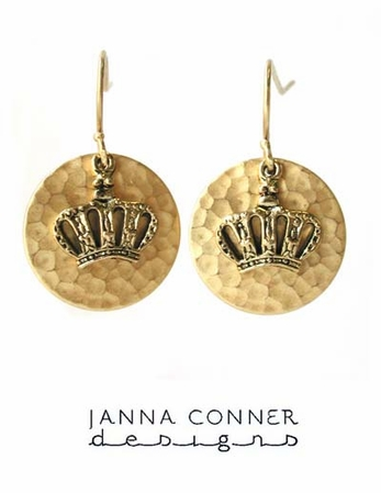 Gold Crown Charm Earrings by Janna Conner
