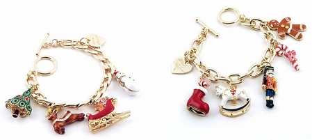 Christmas Multi Enameled Charms Toggle Bracelet