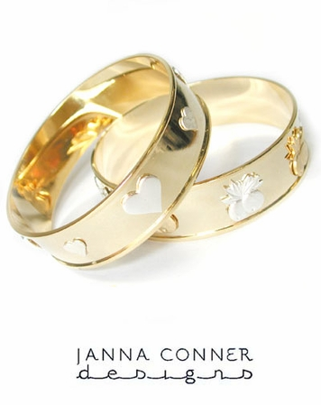 Gold Wide Charm Bangle by Janna Conner