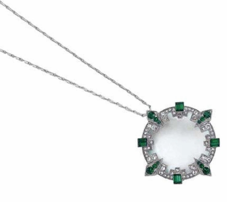 Great Gatsby Emerald Crystal Magnifier Necklace by Spring Street