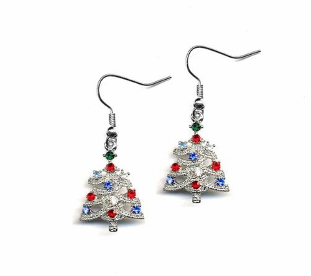 Crystal Multi Silver Christmas Tree Drop Earrings