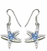 Swarovski Crystal Aqua Starfish Sterling Silver Earrings