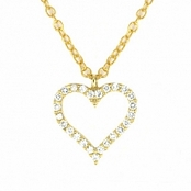 CZ Yellow Gold Plated Sterling Silver Heart Pendant Necklace