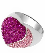 Fuchsia and Rose Swarovski Crystal Layered Heart Ring