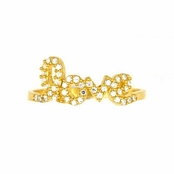 Love CZ Gold Plated Sterling Silver Ring