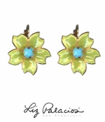 Flores Turquoise Five Petals Enameled Earrings by Liz Palacios