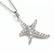 CZ Starfish Sterling Silver Pendant Necklace