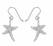 CZ Starfish Sterling Silver Drop Earrings