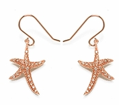 Rose Gold Starfish Sterling Silver Drop Earrings